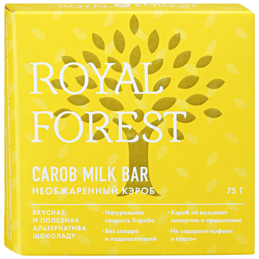 Carob Royal Forest milk bar необжаренный кэроб, 75г