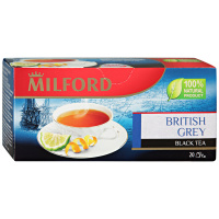 Чай Milford British Grey черный с Био маслом бергамота 20 пакетиков по 1.75 г