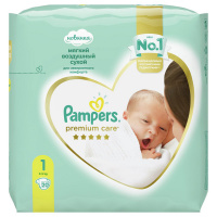 Подгузники Pampers Premium Care Newborn 1 (2-5 кг, 20 штук)