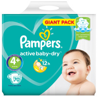 Подгузники Pampers Active Baby-Dry Maxi+ 4+ (10-15 кг, 70 штук)