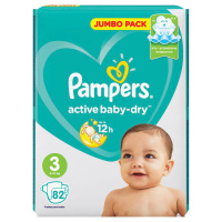 Подгузники Pampers Active Вaby midi 3 (6-10 кг, 82 штуки)