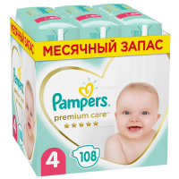 Подгузники Pampers Premium Care 4 (9-14 кг, 108 штук)