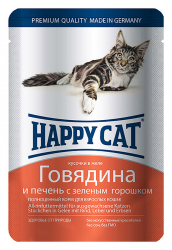Корм влажный Happy Cat говядина печень горох в желе для кошек 100 г
