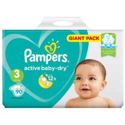 Подгузники Pampers Active Baby-Dry Midi 3 (6-10 кг, 90 штук)