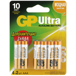 Батарейки алкалиновые GP Batteries 24AU4/2-2CR6 Ultra ААА 1.5 V (6 штук)