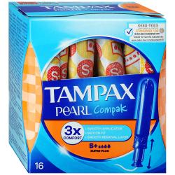 Тампоны Tampax Compak Pearl Super plus duo 4 капли 16 штук