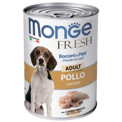 Корм влажный Monge Dog Fresh Chunks in Loaf мясной рулет с курицей для собак 400 г