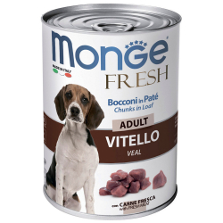 Корм влажный Monge Dog Fresh Chunks in Loaf мясной рулет с телятиной для собак 400 г