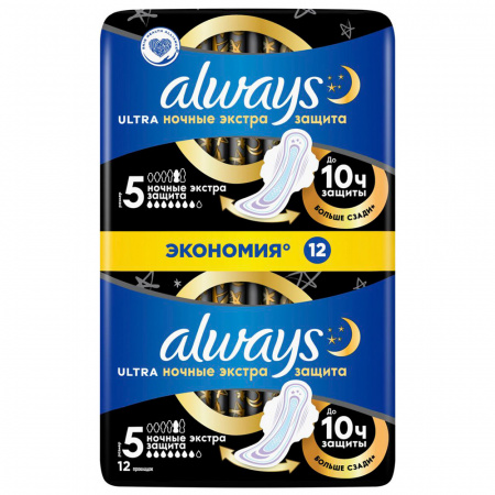 Прокладки Always Ultra Night Duo 7 капель 12 штук