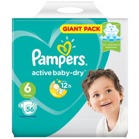 Подгузники Pampers Active Baby-Dry Extra Large 6 (13-18 кг, 56 штук)