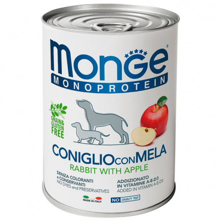 Корм влажный для собак Monge Dog Monoprotein Fruits паштет из кролика с яблоком 400 г
