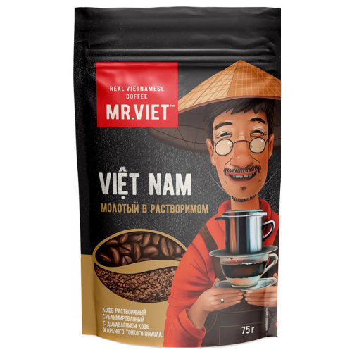 Кофе Mr.Viet Robusta Арабика растворимый сублимированный с добавлением молотого 75 г