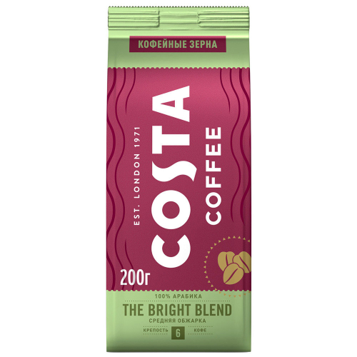 Кофе Costa Coffee Bright Blend в зернах 200 г
