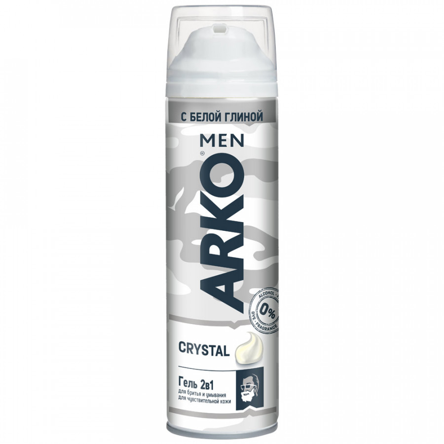Гель для бритья Arko for Men Crystal с белой глиной с восстанавливающим эффектом 200 мл